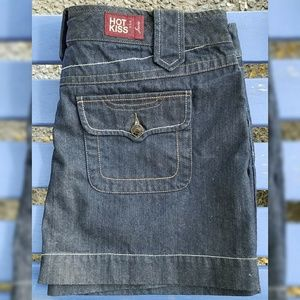Hot Kiss Mini Jean Skirt Dark Wash